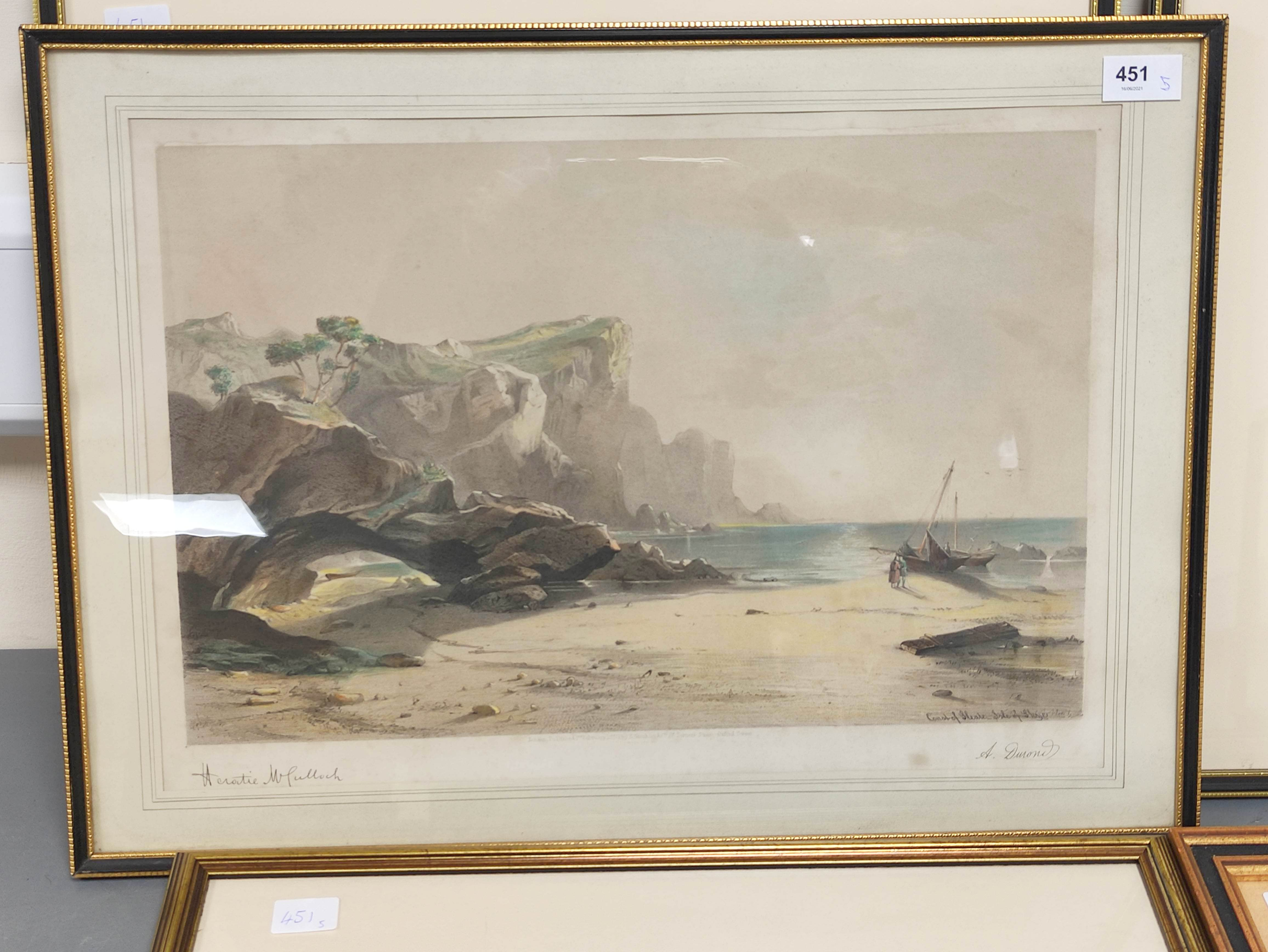HORATIO McCULLOCH.Coast of Sleate, Isle of Skye, hand coloured lithograph; also 4 other - Image 4 of 5