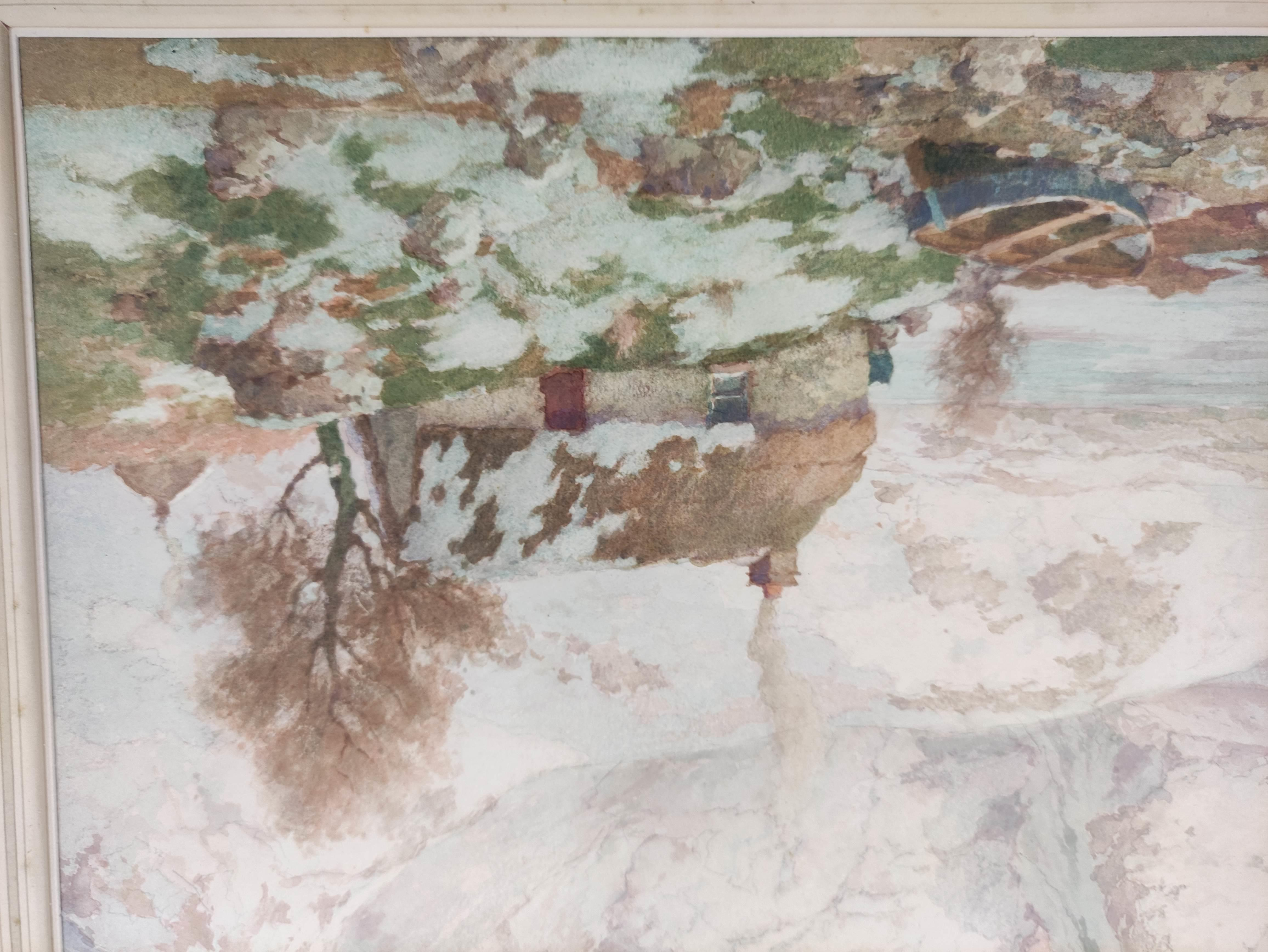 """A. P. THOMSON RSW. """"The snow over the hills of Skye"""". Signed, watercolour. 36cm x 54cm. - Image 4 of 5"""