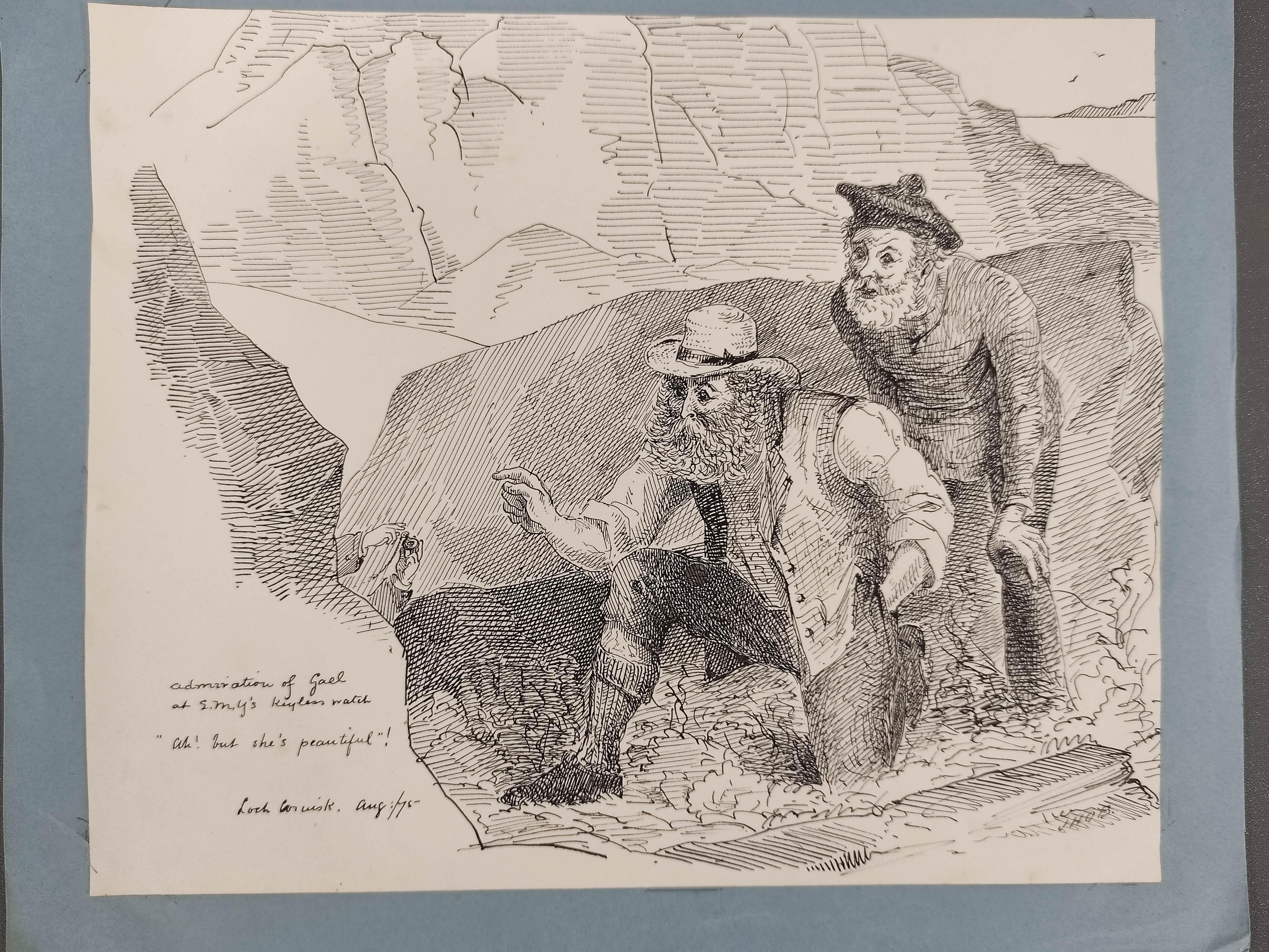 J.H.O.B.- original artwork. 8 comic pen & ink drawings made on a visit to Skye, 1875. - Image 2 of 7