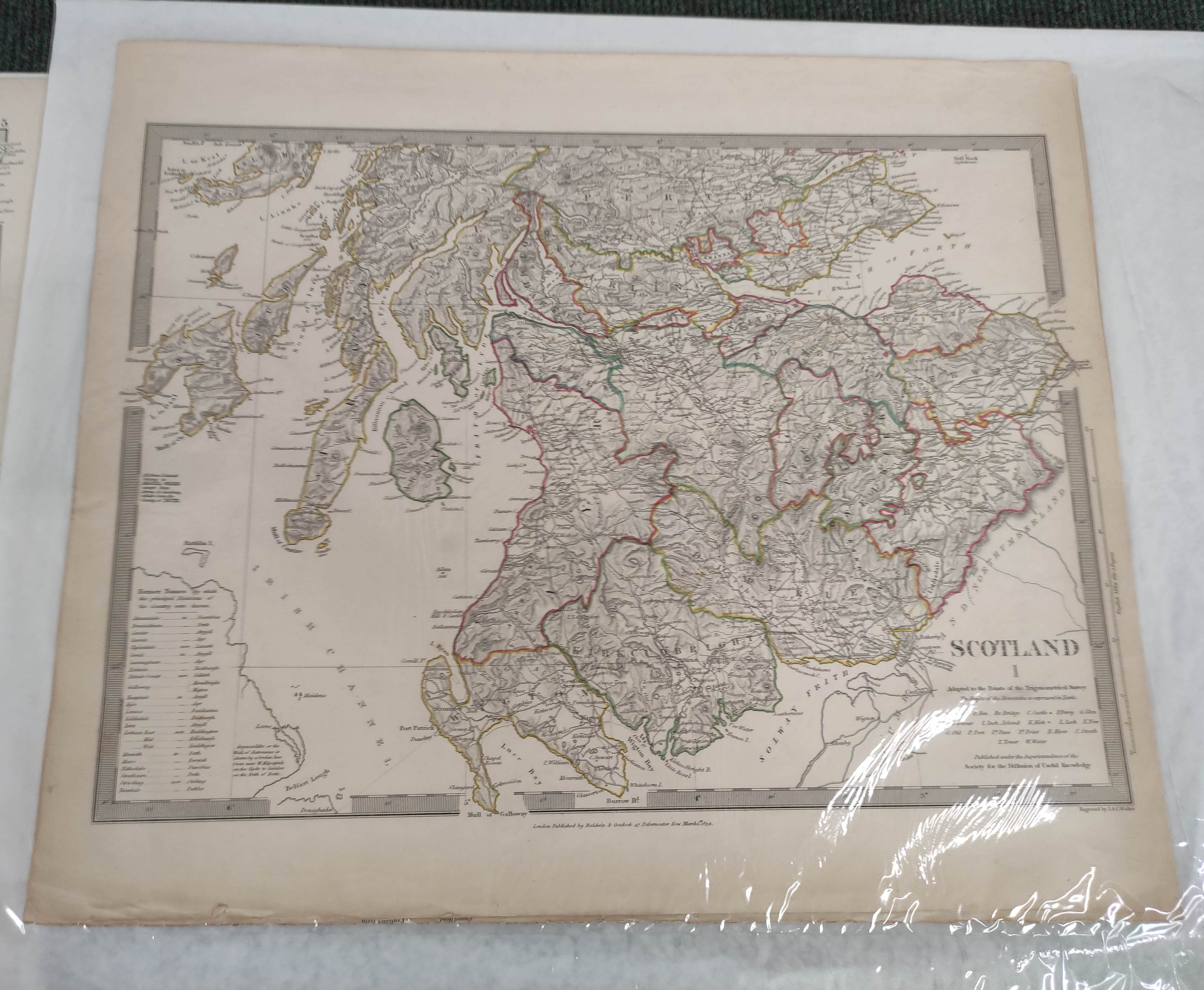 Engraved Maps.2 hand coloured eng. double maps of Ireland & Scotland by S. Augustus Mitchell, - Image 3 of 7