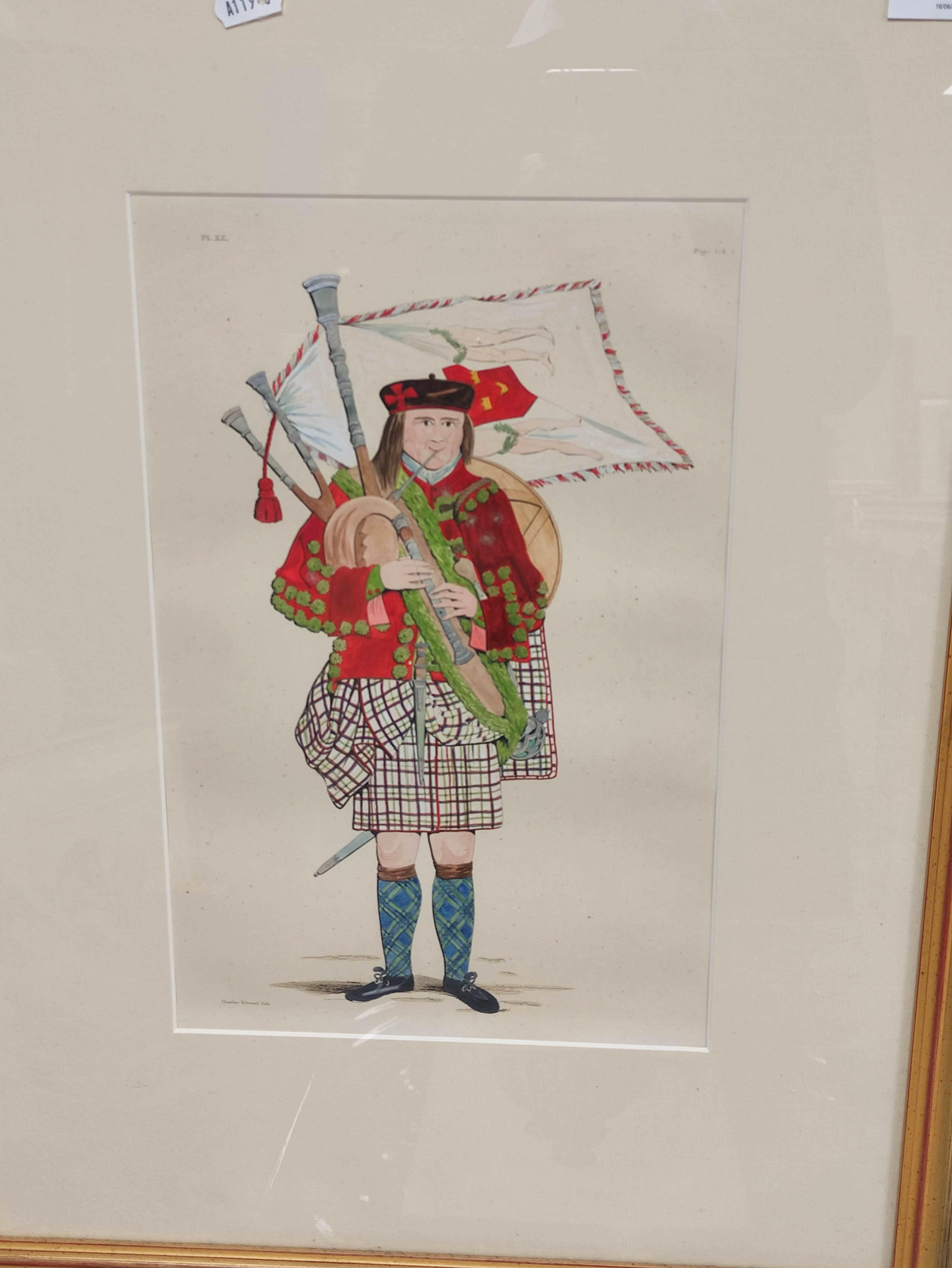 Highland Costume.4 hand coloured engraved plates, 2 framed. - Image 2 of 6
