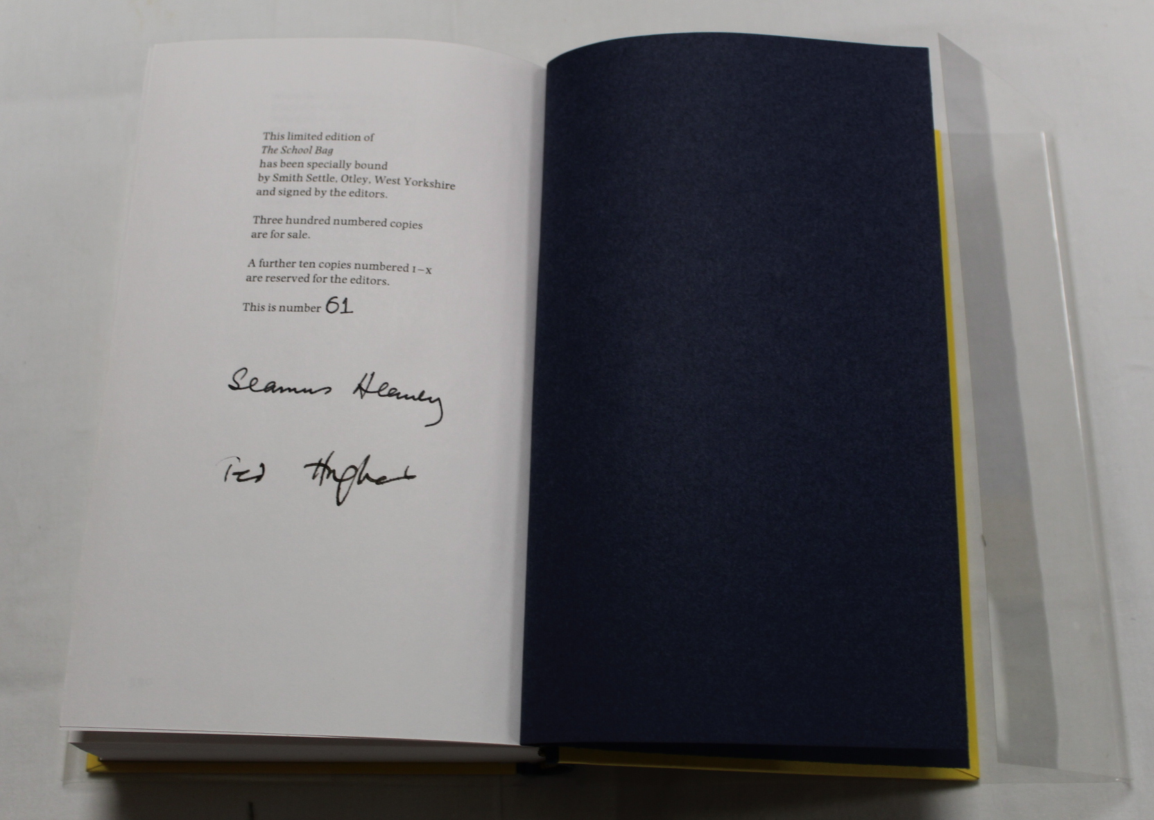 HEANEY SEAMUS. The School Bag. Ltd. ed. 61/300 signed by Heaney & Ted Hughes. Orig. blue & yellow - Image 30 of 36