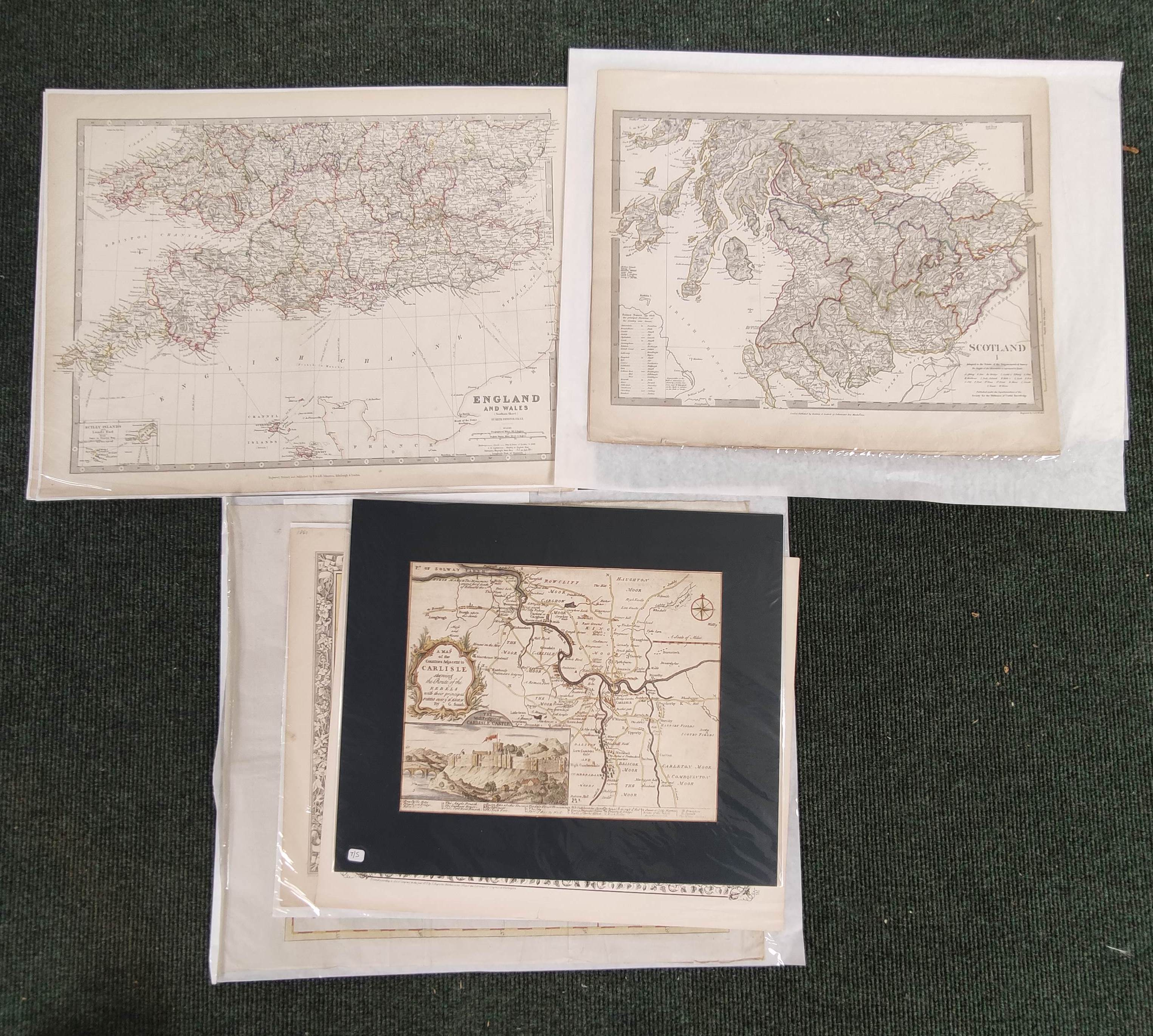 Engraved Maps.2 hand coloured eng. double maps of Ireland & Scotland by S. Augustus Mitchell,