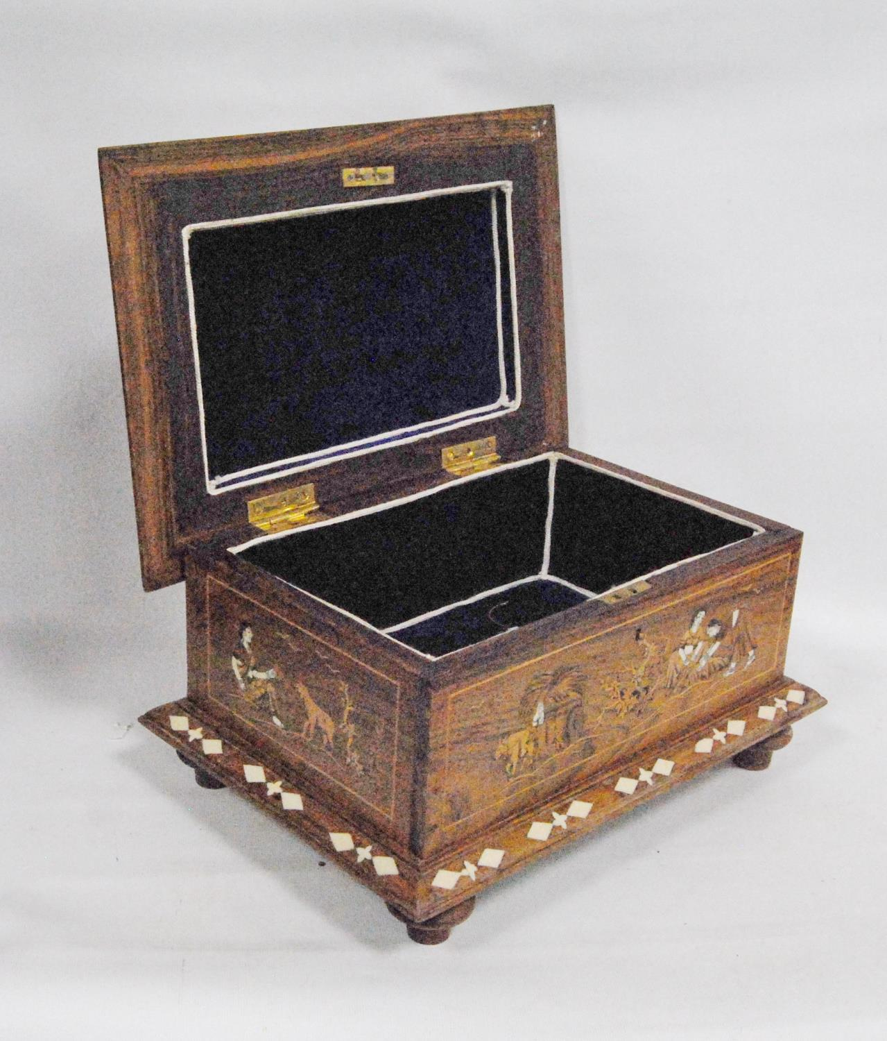 Inlaid rosewood casket-shaped box decorated with a rural scene, with hinged rectangular lid and - Image 5 of 5