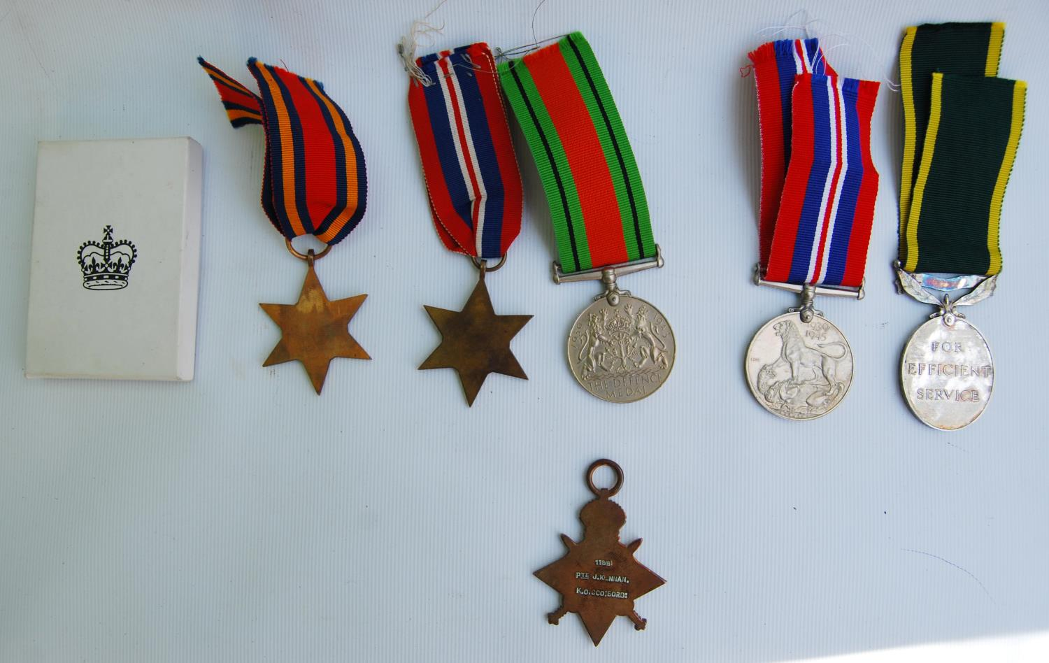 World War I medal group for Private D Kennan, Royal Scots, 3189854, Territorial Efficient Service - Image 3 of 3