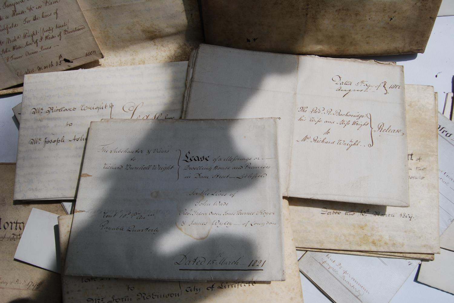 19th century and other vellum and paper deeds relating to Lichfield, Dam Street, predominantly - Image 6 of 12