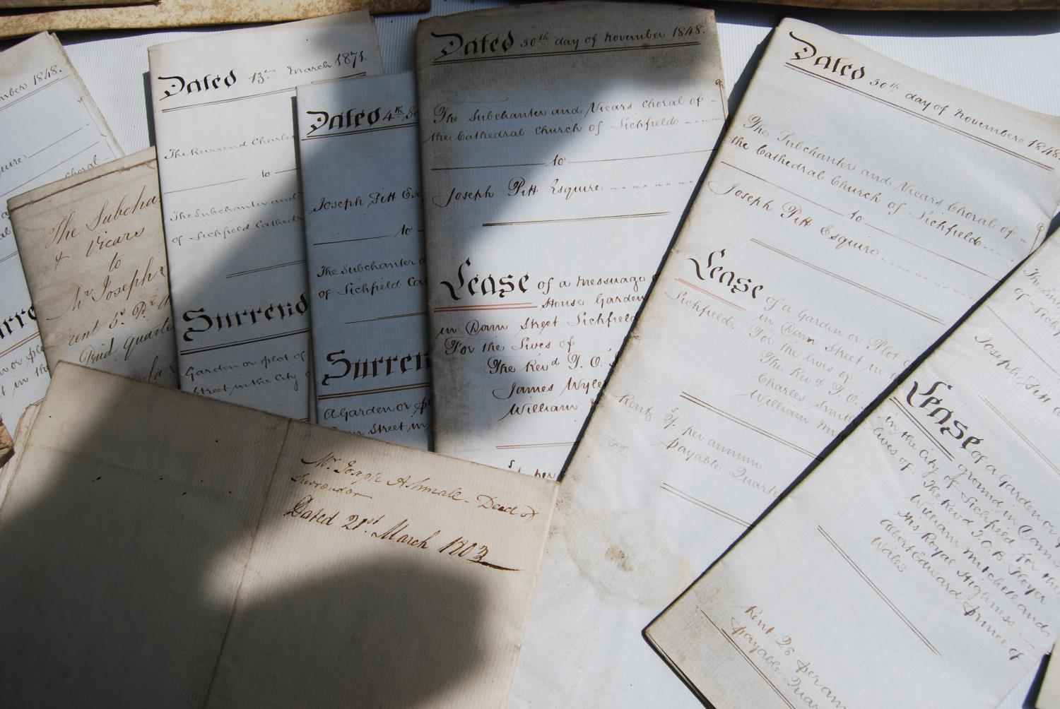 19th century and other vellum and paper deeds relating to Lichfield, Dam Street, predominantly - Image 3 of 12