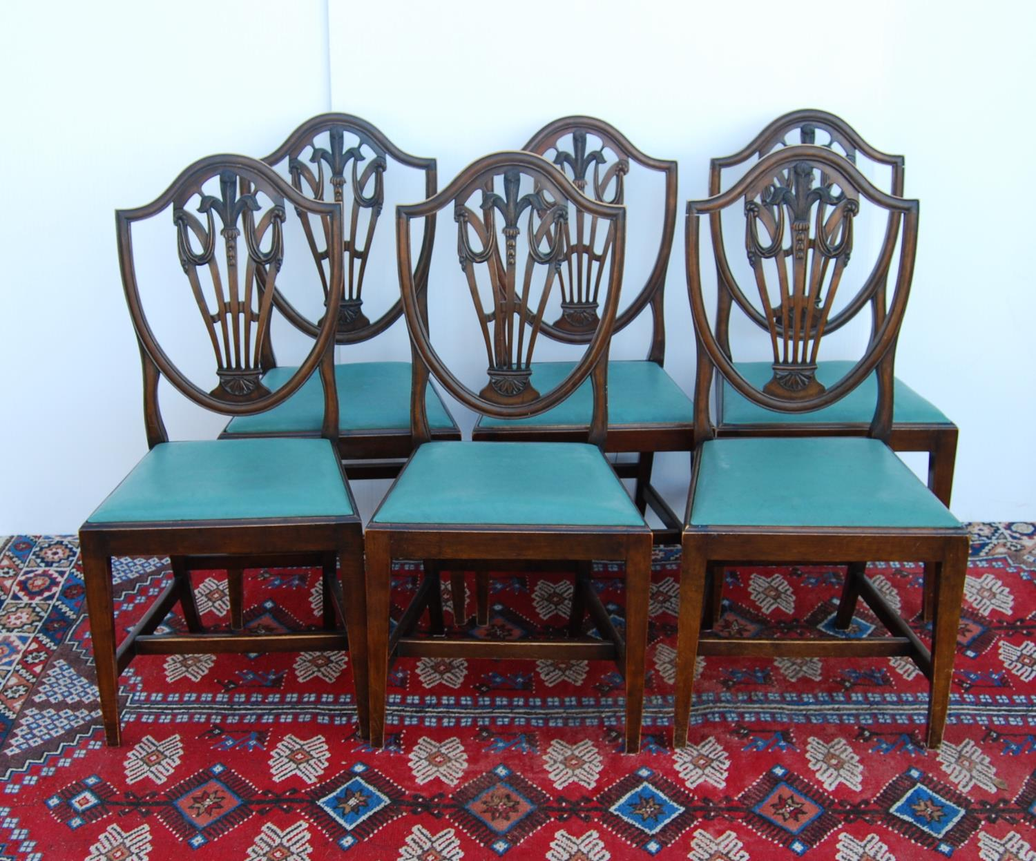 Set of mahogany dining chairs of George III design, each with moulded shield-shaped back, with - Image 2 of 3
