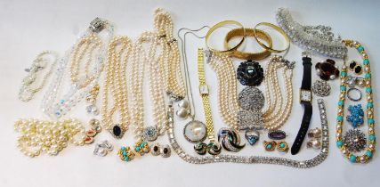 Miniature pendant with pearls, '9ct', and a quantity of costume jewellery.