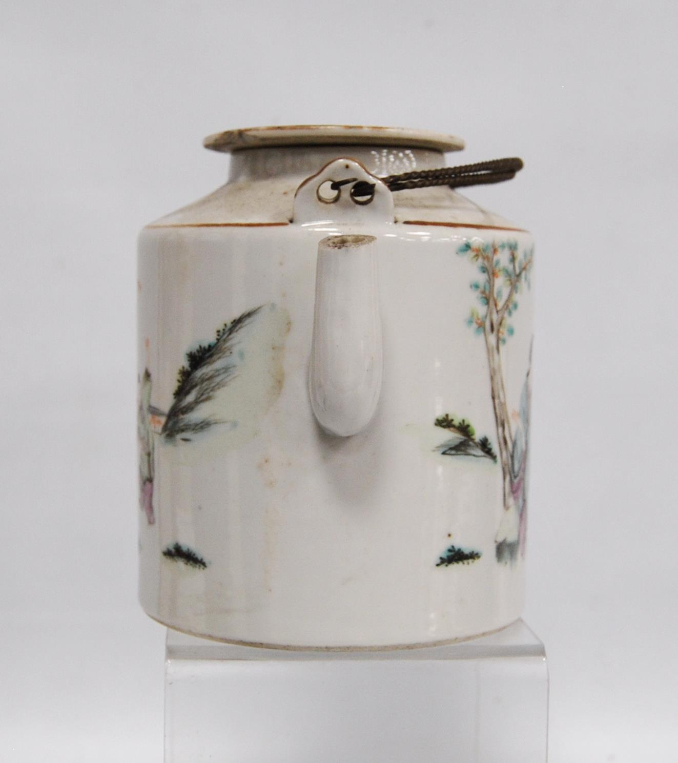 Canton famille rose teapot decorated with children and their teacher, marks to the base, 14cm high. - Image 3 of 8