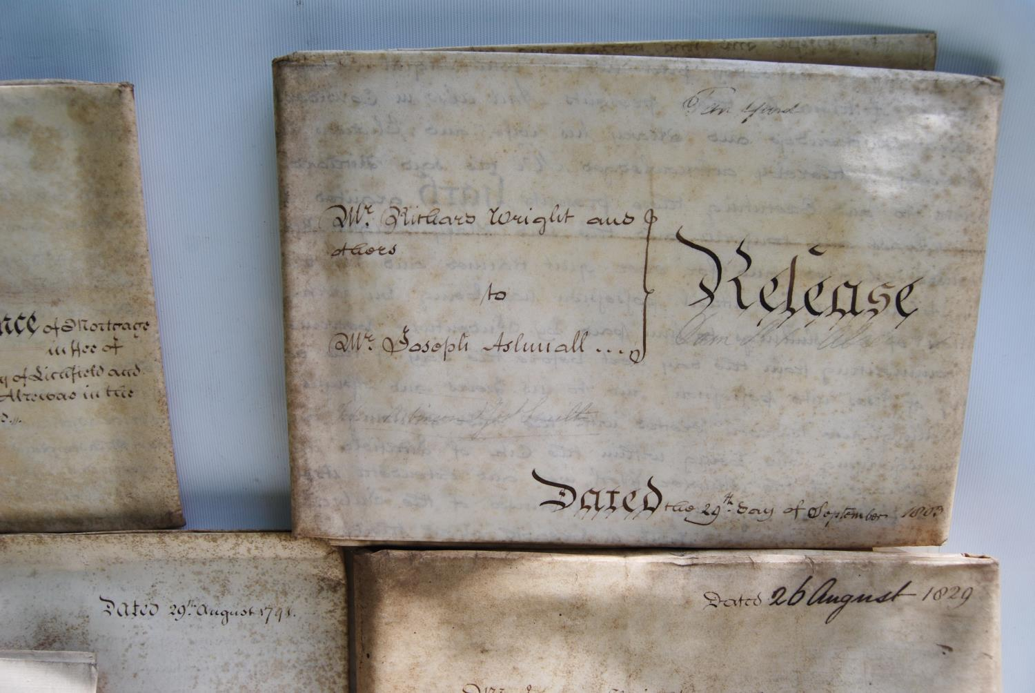 19th century and other vellum and paper deeds relating to Lichfield, Dam Street, predominantly - Image 2 of 12