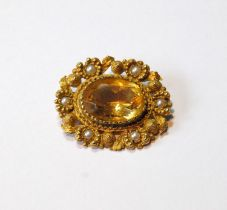 9ct gold and pearl cannetille brooch with citrine.