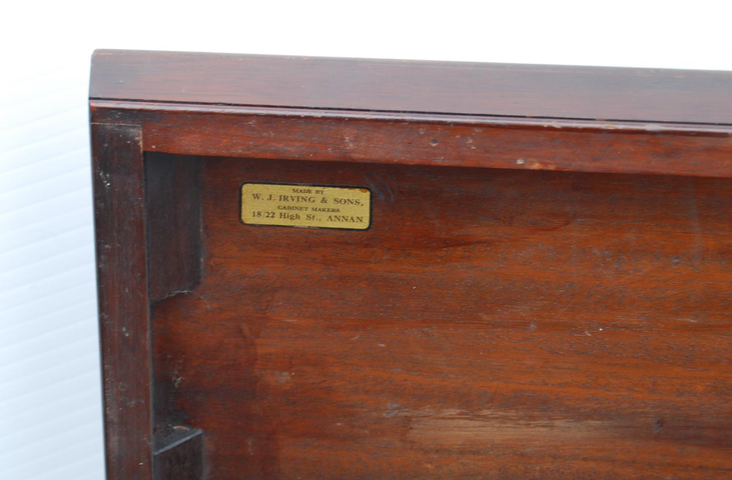 Mahogany cellarette by Irving & Sons, Annan of rectangular casket form enclosing liner, on ogee - Image 3 of 3