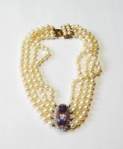 Cultured pearl three-strand collar with oval amethyst and diamond cluster and pearl snap, 9ct