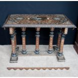 Syrian rosewood and bone inlaid marquetry table, the chamfered rectangular top with central palmette