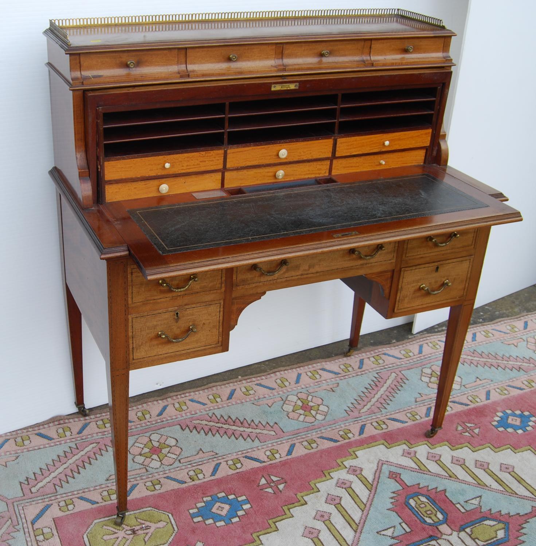 Edwardian mahogany cylinder desk made by John Taylor & Son, Edinburgh, May 1915, the pierced - Image 2 of 6