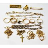 Gold curb bracelet and various other items, mostly 9ct, 40g gross.
