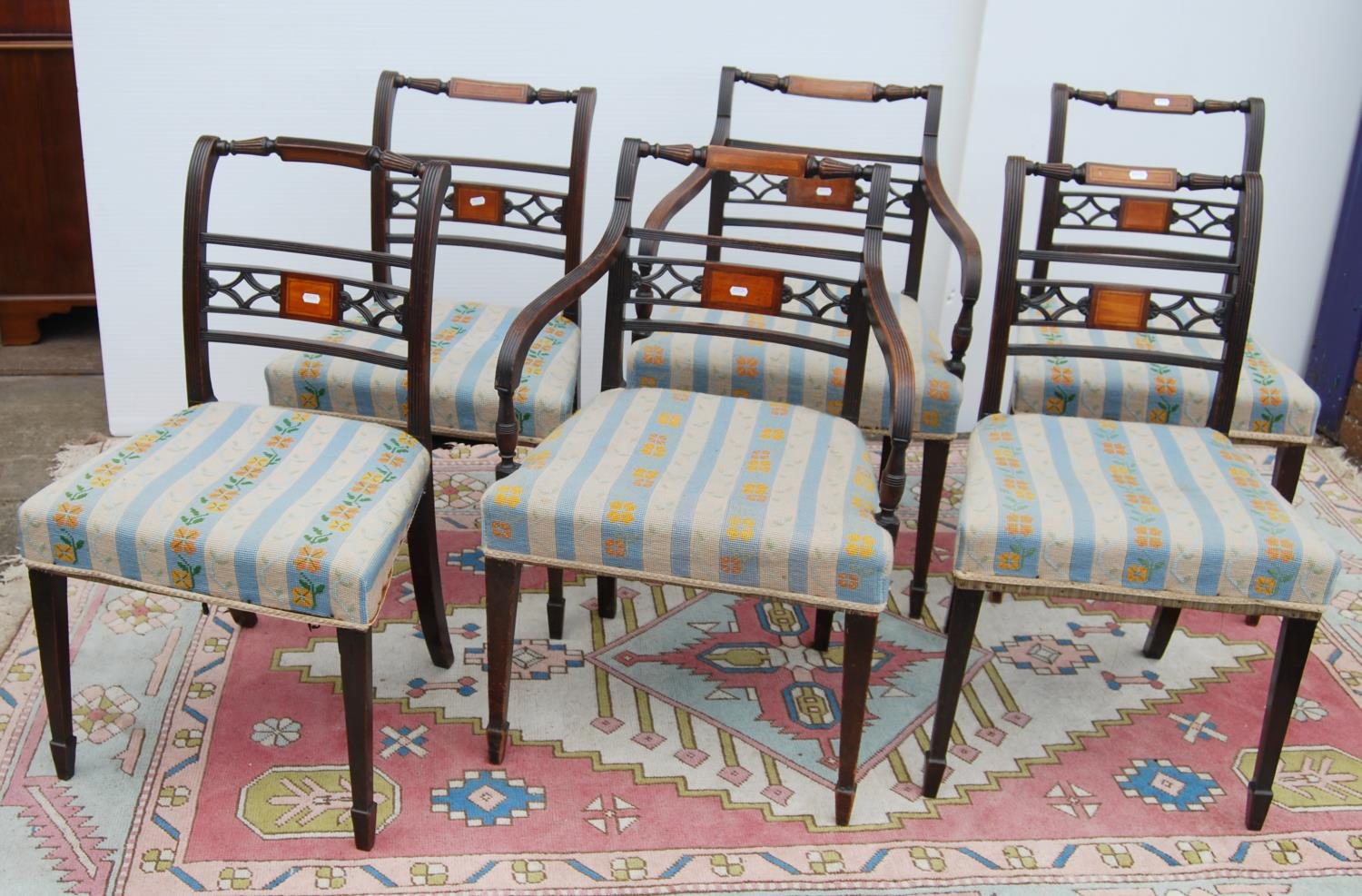 Set of six Regency mahogany dining chairs, each with baluster top rail, reeded upright horizontal - Image 3 of 3