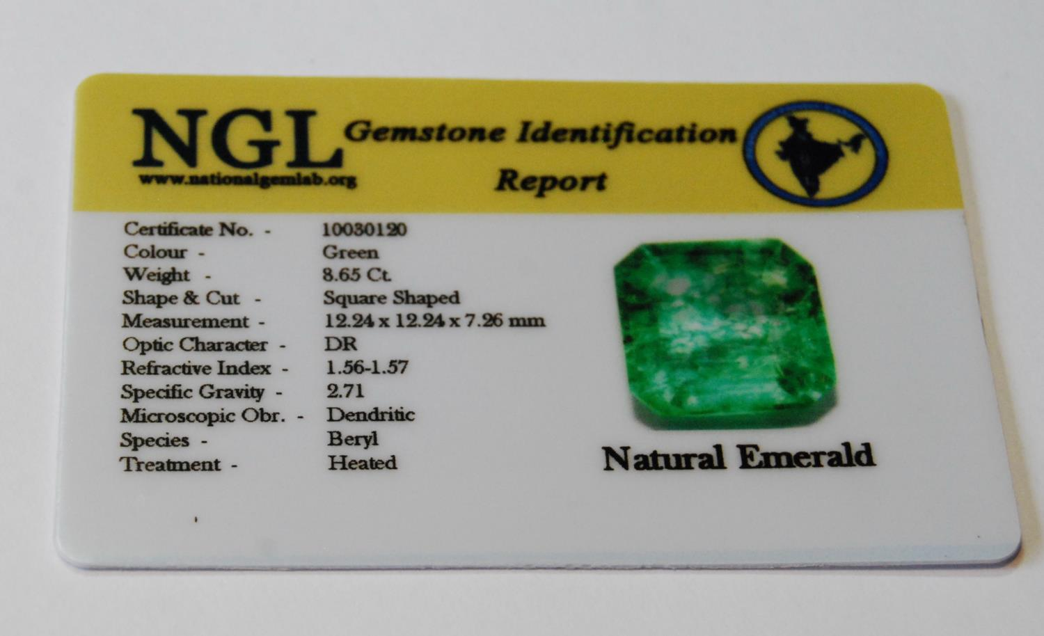 Unmounted square emerald with NGL report, given as 8.65ct, 12.24mm x 7.26mm, treated, of almost lime - Image 5 of 5