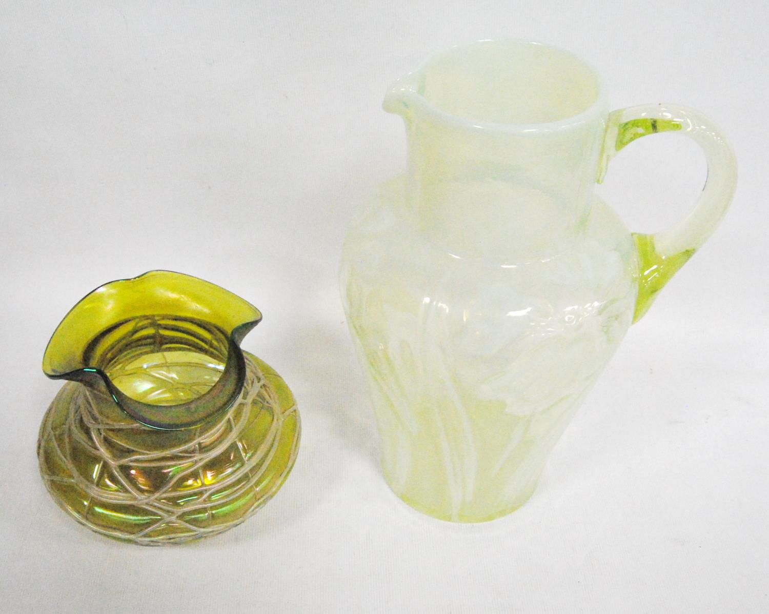 Loetz-style glass vase, 11cm high, also a vaseline-style jug with floral decoration, 23cm high. (2) - Image 2 of 10