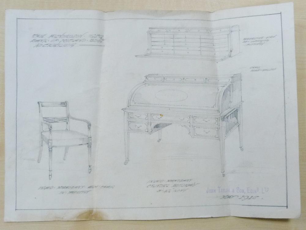 Edwardian mahogany cylinder desk made by John Taylor & Son, Edinburgh, May 1915, the pierced - Image 6 of 6