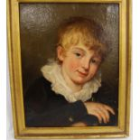British School Portrait of a young boy with white ruffled collar, black jacket with brass buttons,