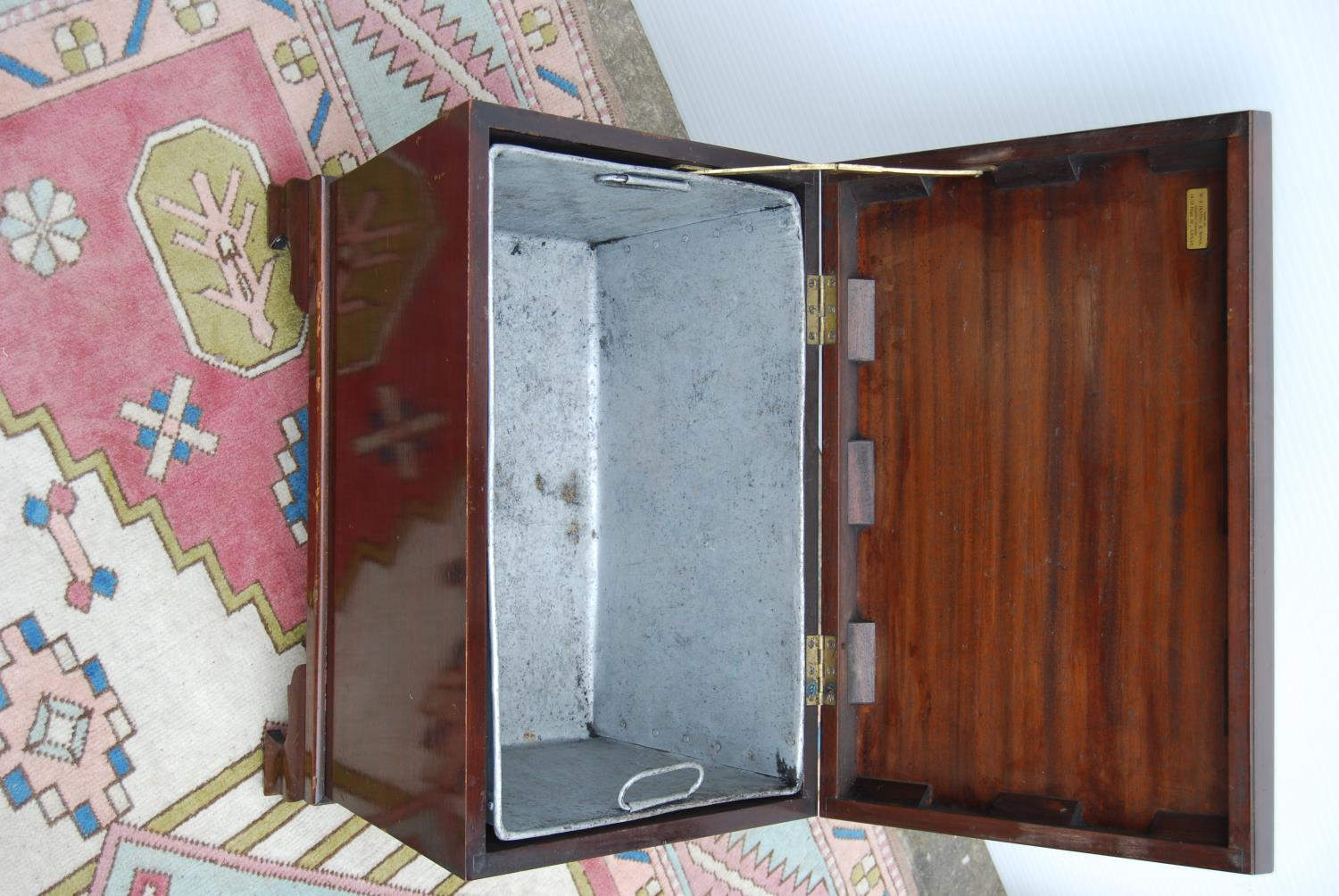 Mahogany cellarette by Irving & Sons, Annan of rectangular casket form enclosing liner, on ogee - Image 2 of 3