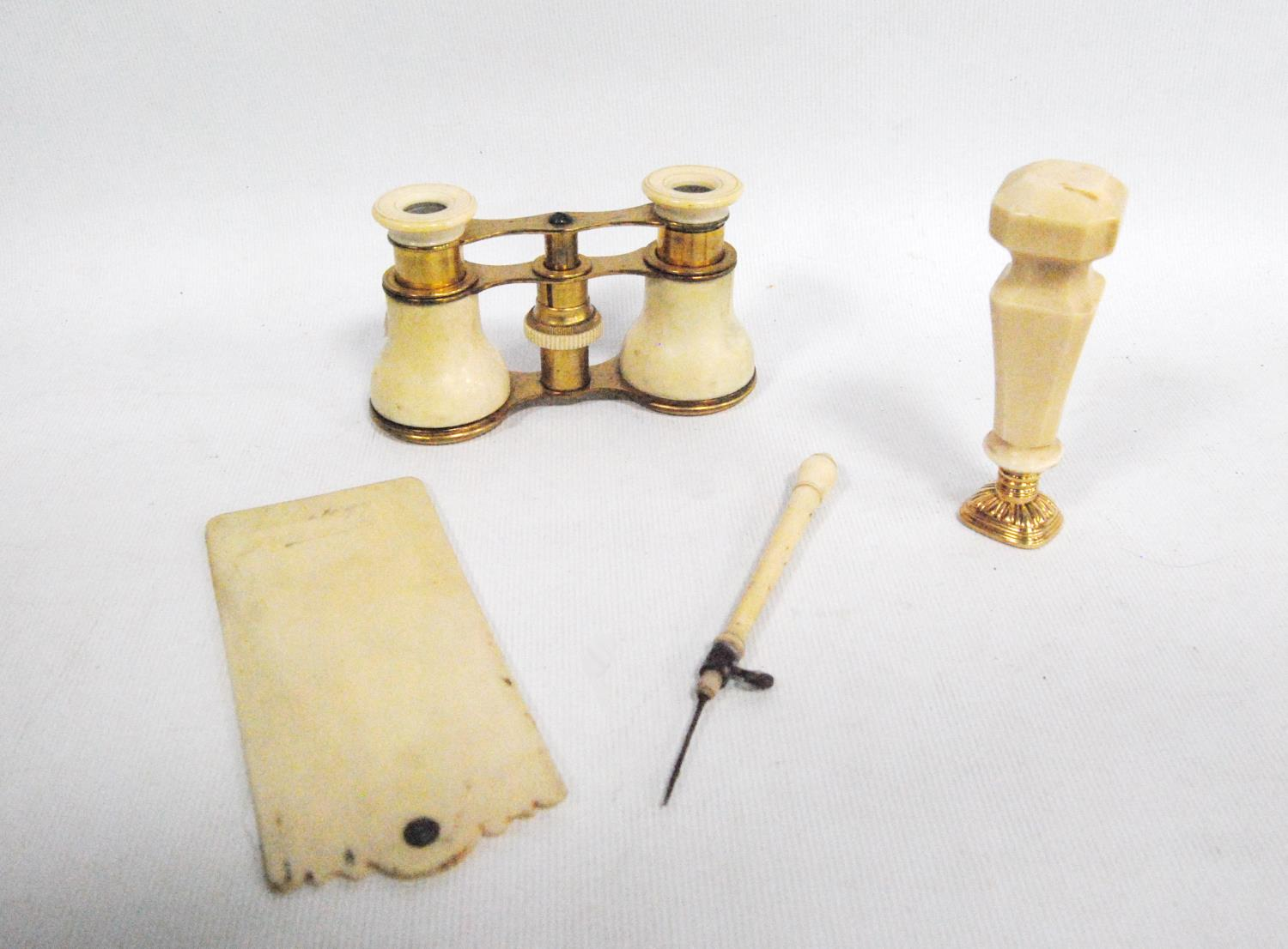 19th/early 20th century ivory scribe and plate seal, also a pair of opera glasses. - Image 2 of 2