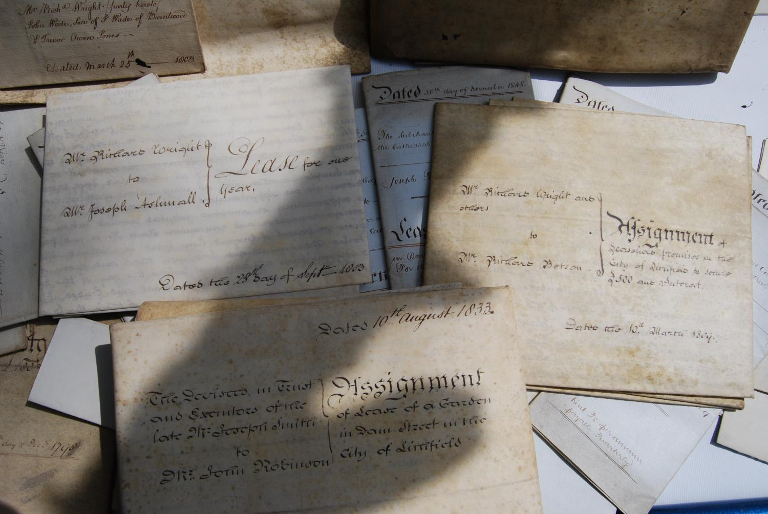 19th century and other vellum and paper deeds relating to Lichfield, Dam Street, predominantly - Image 5 of 12