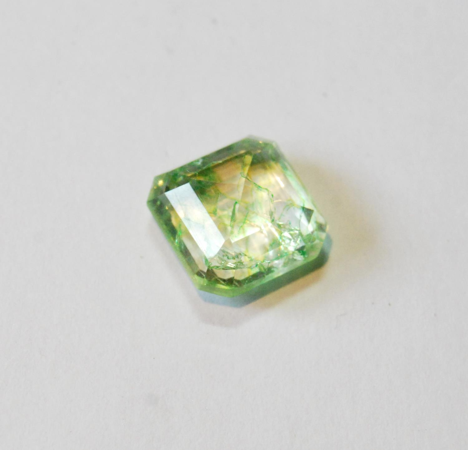 Unmounted square emerald with NGL report, given as 8.65ct, 12.24mm x 7.26mm, treated, of almost lime - Image 3 of 5