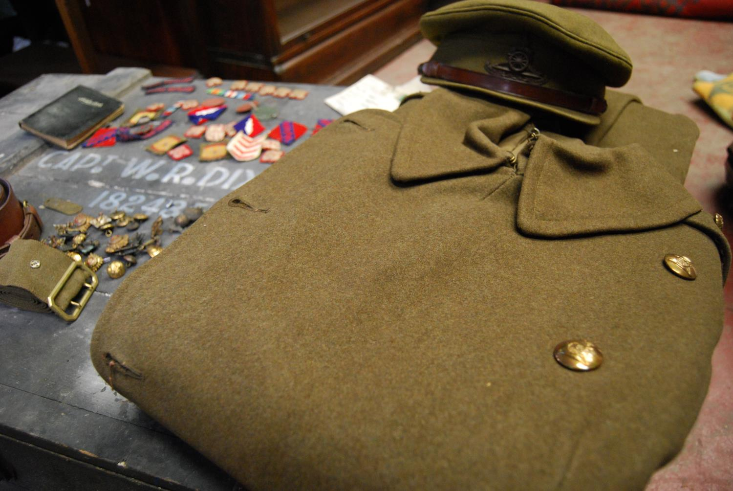 Military ephemera relating to Captain WR Dixon, 182485 Royal Artillery including cap, trench coat, - Image 4 of 5