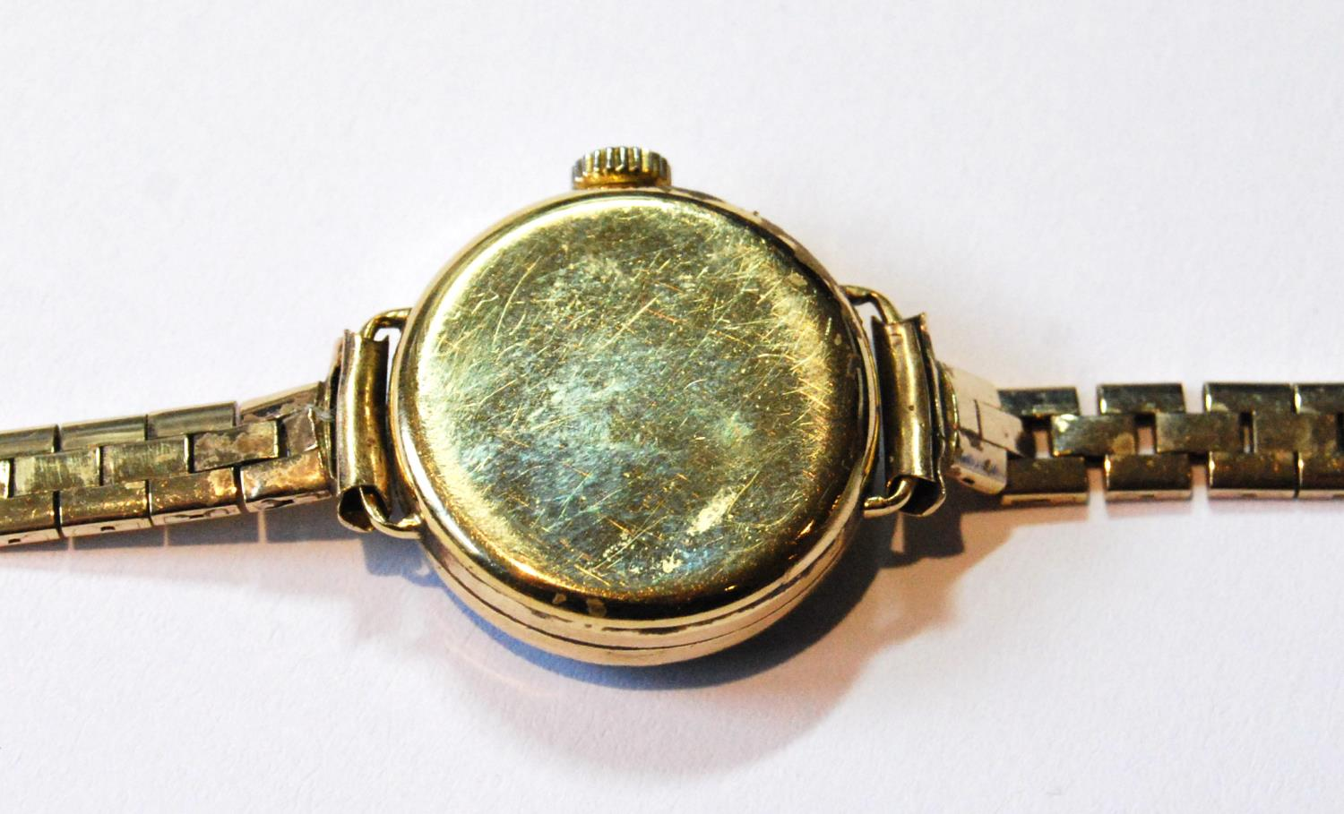 Garrard lady's 18ct gold watch with diamond-set bezel, 1919, movement replaced, on 9ct gold - Image 3 of 4