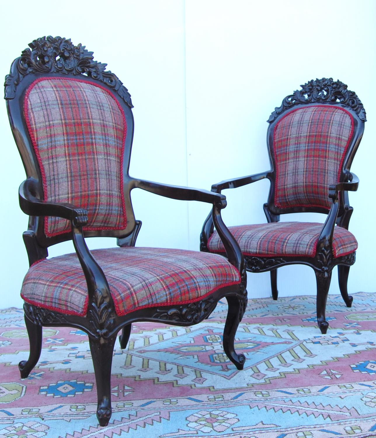Pair of Victorian-style open armchairs with cushioned backs mounted by floral carved panels, - Image 2 of 3