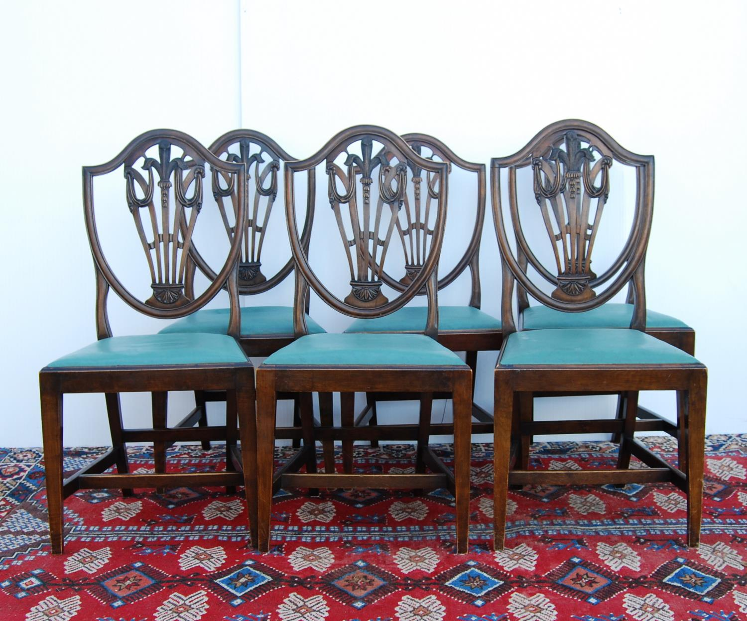 Set of mahogany dining chairs of George III design, each with moulded shield-shaped back, with - Image 3 of 3
