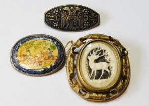Persian painted bone oval brooch with equestrian figures and two others. (3)
