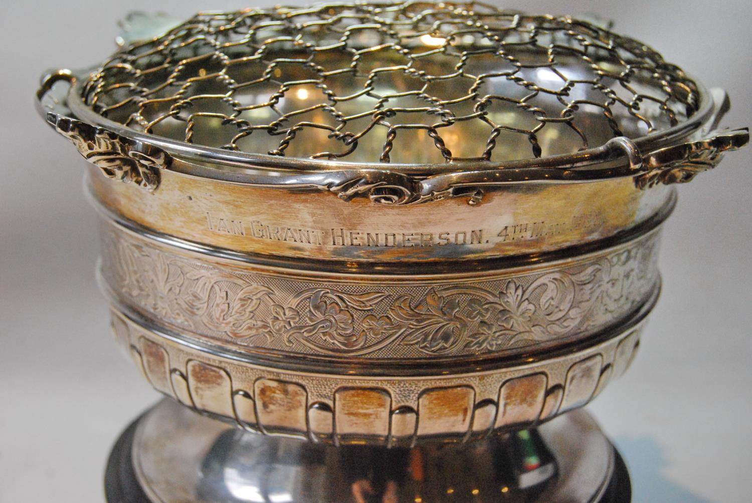 Silver rose bowl, semi gadrooned and engraved, with shaped cast border, by Crichton, Edinburgh 1890, - Image 2 of 3
