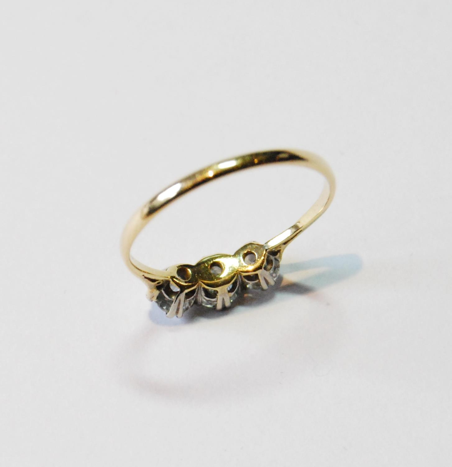 Diamond three-stone ring, the largest brilliant approximately .5ct, in gold, size P. - Image 3 of 3
