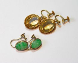 Pair of gold drop earrings with citrines and another pair, jade. (4)