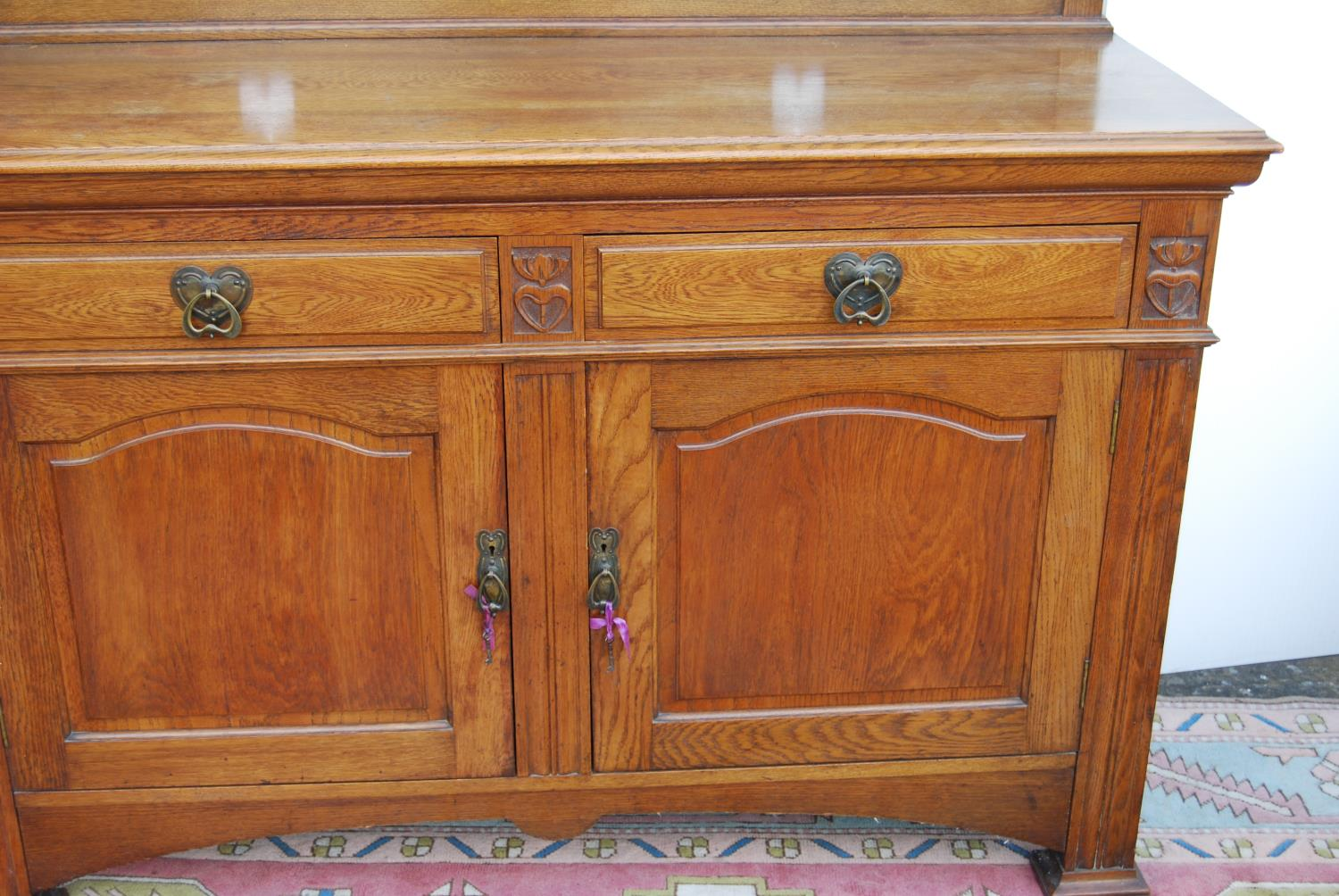 Aesthetic oak sideboard, the back panel with pierced inverted hearts, moulded rectangular top over - Image 4 of 7