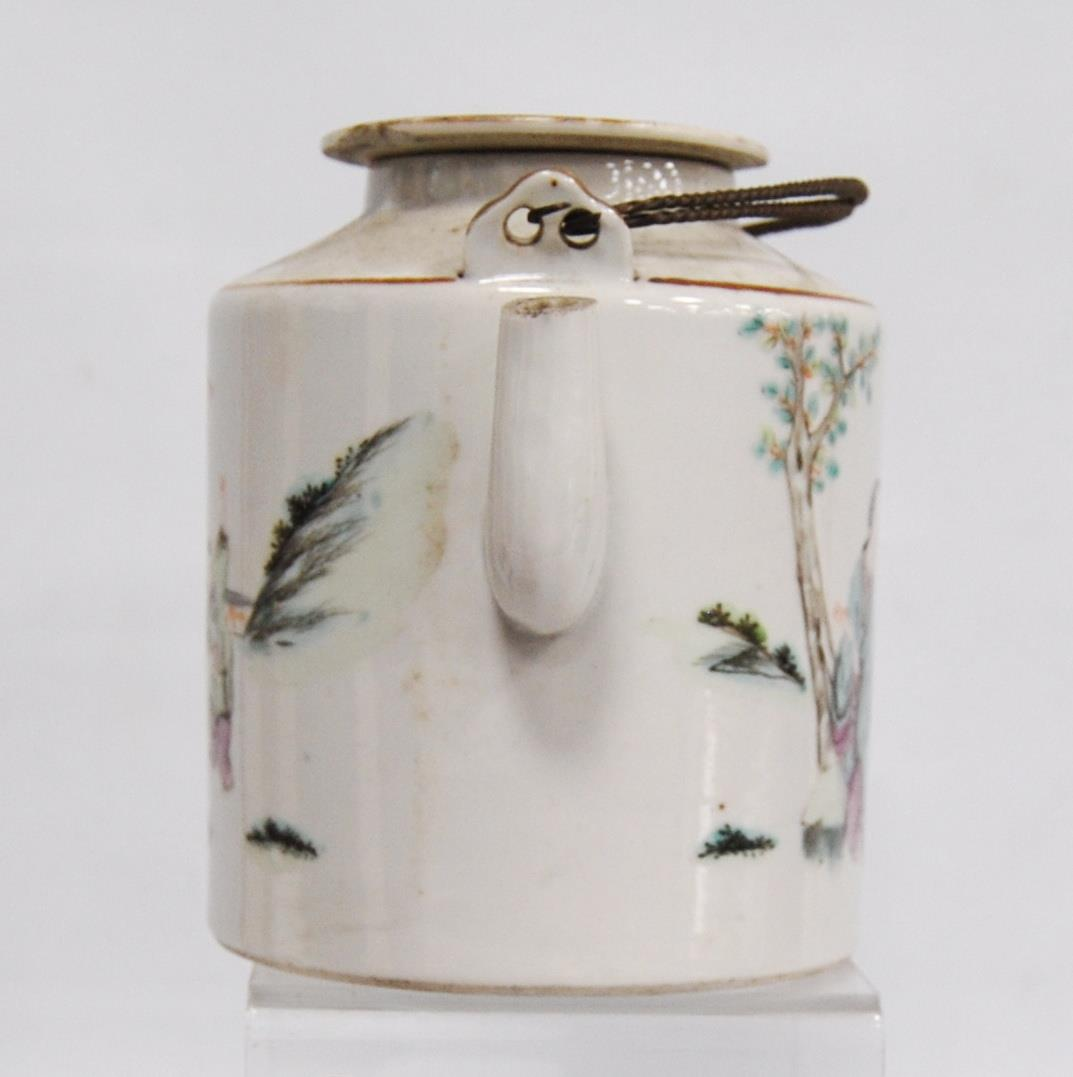Canton famille rose teapot decorated with children and their teacher, marks to the base, 14cm high. - Image 2 of 8