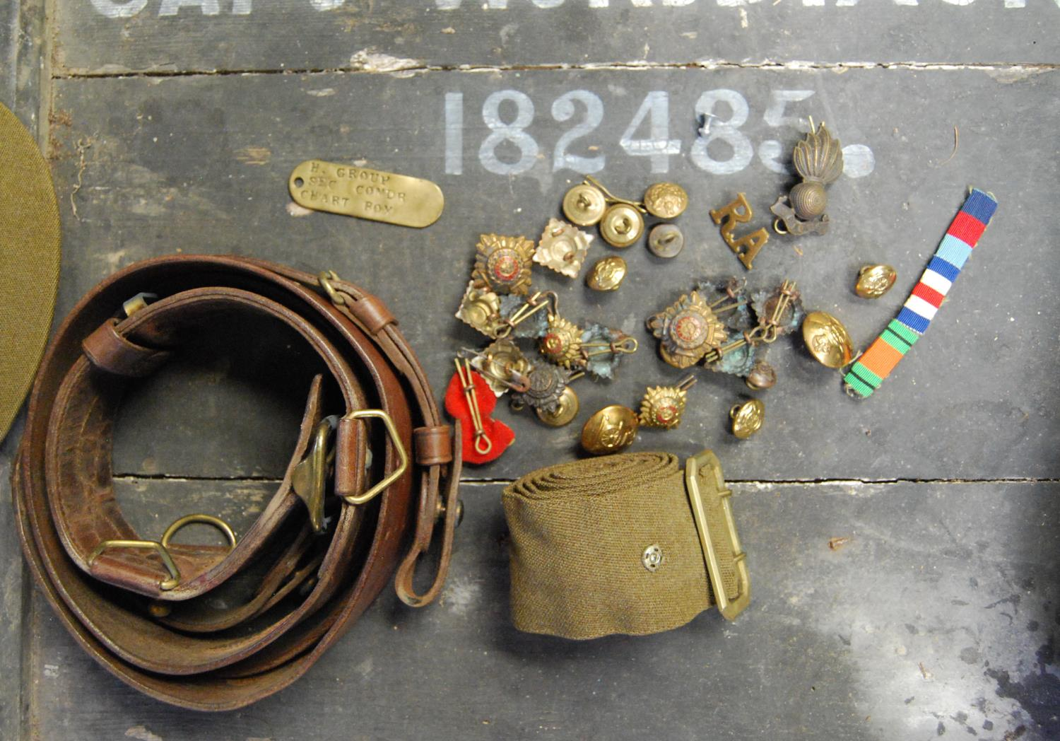 Military ephemera relating to Captain WR Dixon, 182485 Royal Artillery including cap, trench coat, - Image 2 of 5