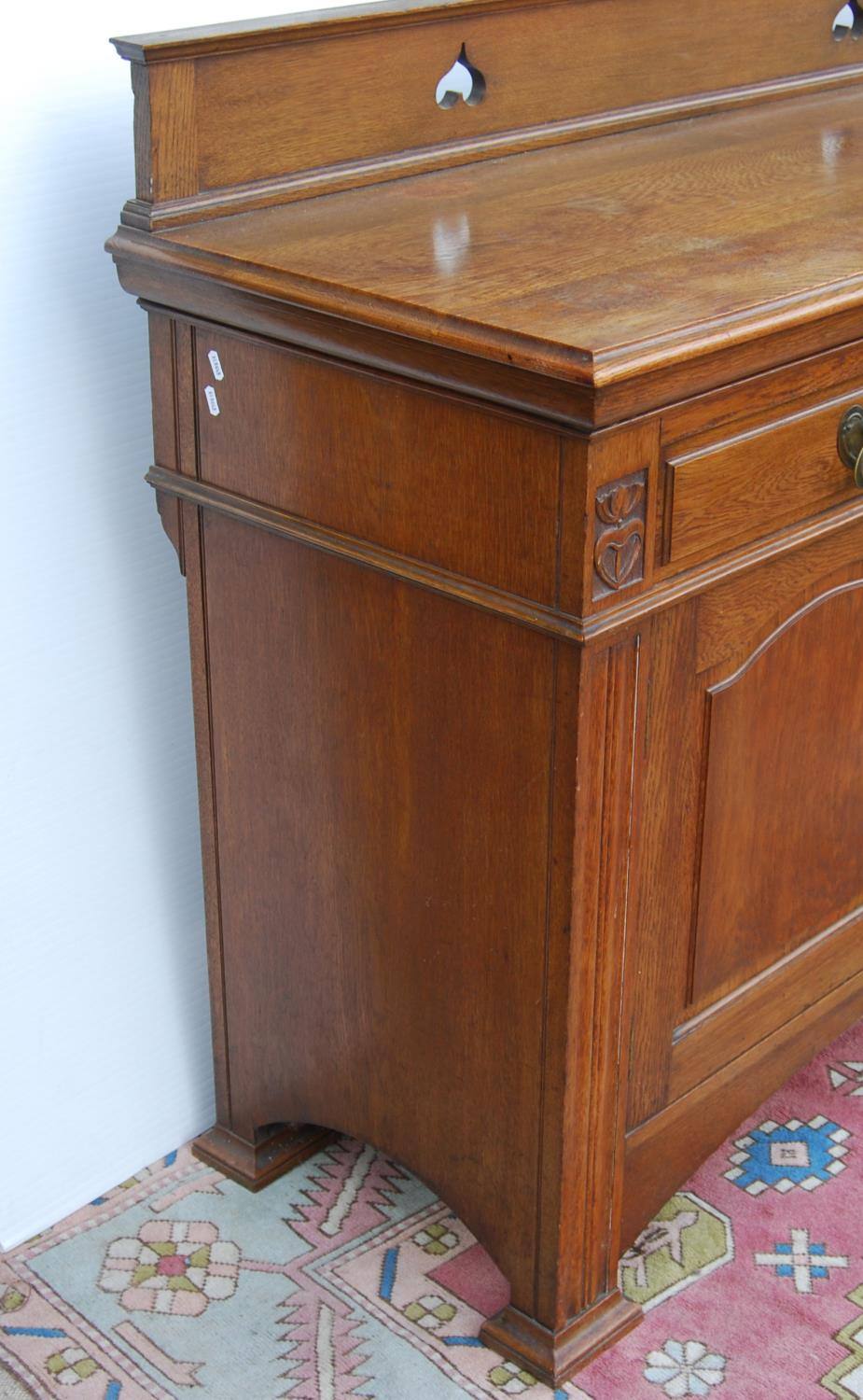 Aesthetic oak sideboard, the back panel with pierced inverted hearts, moulded rectangular top over - Image 7 of 7