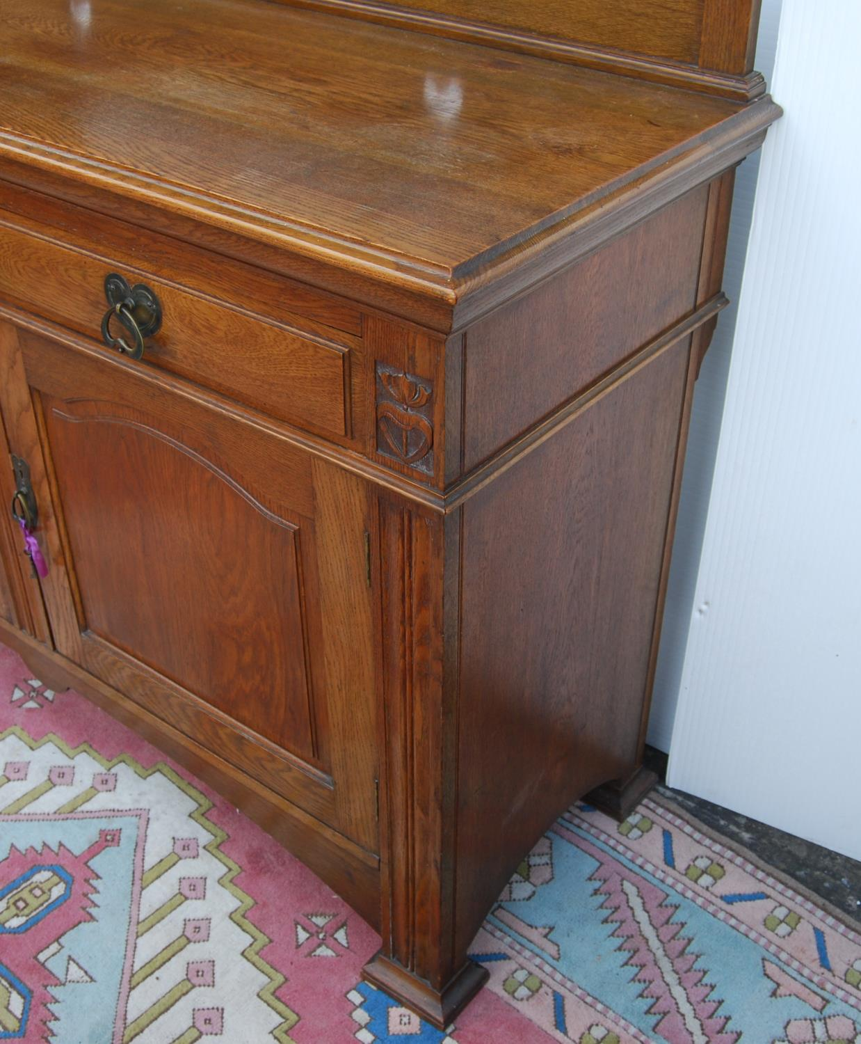 Aesthetic oak sideboard, the back panel with pierced inverted hearts, moulded rectangular top over - Image 6 of 7
