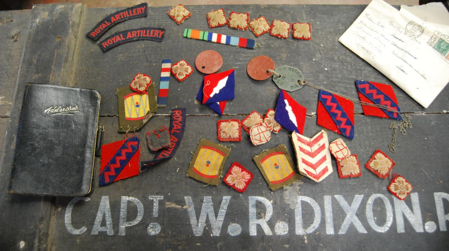 Military ephemera relating to Captain WR Dixon, 182485 Royal Artillery including cap, trench coat, - Image 3 of 5