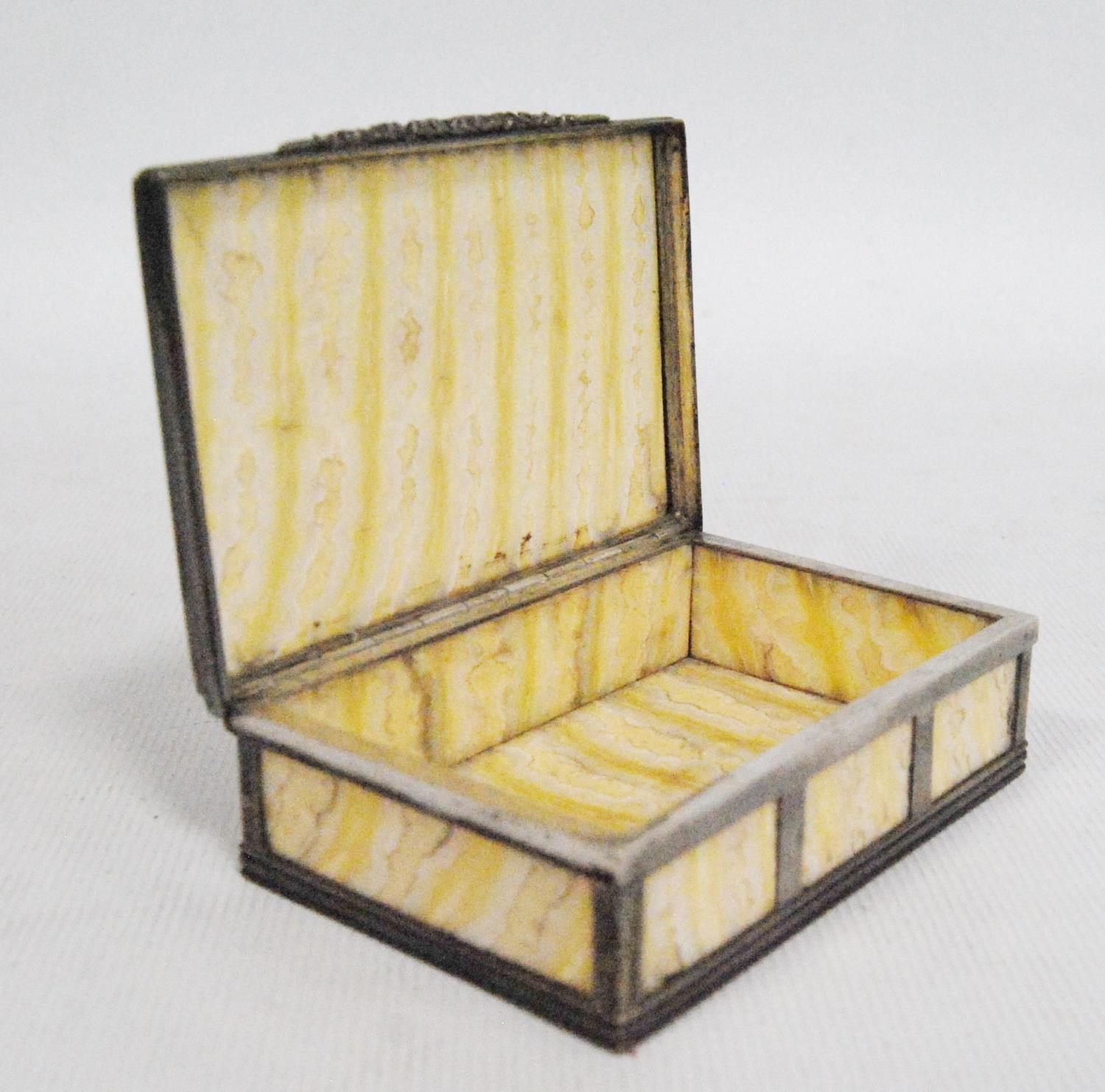 Elephant's tooth box with white metal banding and floral clasp, 7.5cm wide, 2cm high and 5.5cm deep. - Image 2 of 3