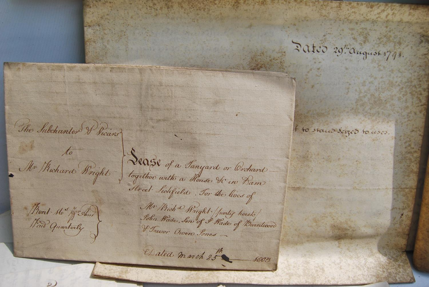 19th century and other vellum and paper deeds relating to Lichfield, Dam Street, predominantly - Image 4 of 12
