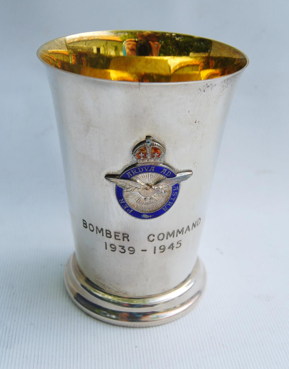 RAF silver beaker engraved, 'Bomber Command 1939-1945' with applied enamel badge and gilt lining, - Image 3 of 5