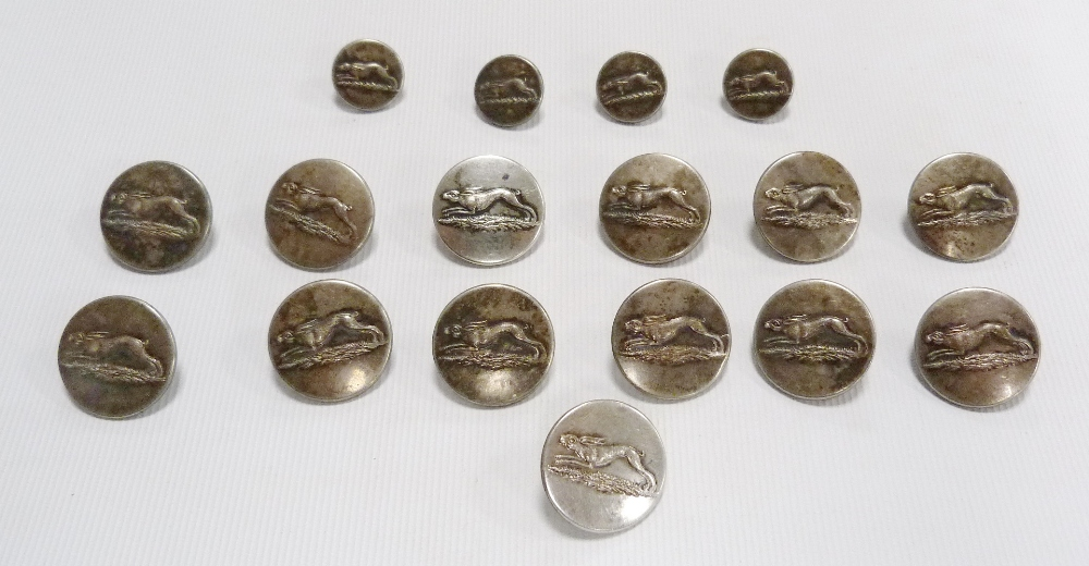 Thirteen hunt coat buttons and four cuff buttons by RN Norton, no. 4, Picketts Street, Temple Bar,