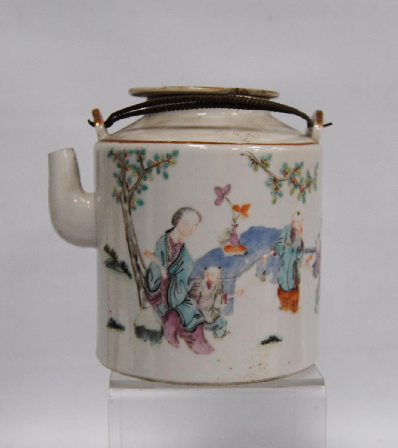Canton famille rose teapot decorated with children and their teacher, marks to the base, 14cm high. - Image 4 of 8