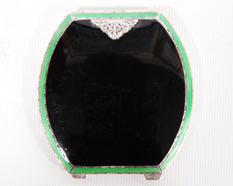 Art Deco silver and enamel hinged compact, Adie Brothers, Birmingham 1933, the black enamelled lid - Image 3 of 5